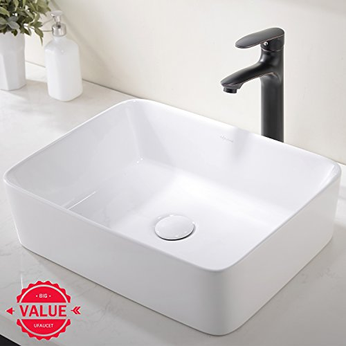 Review Modern Porcelain Above Counter White Ceramic Bathroom Vessel Sink