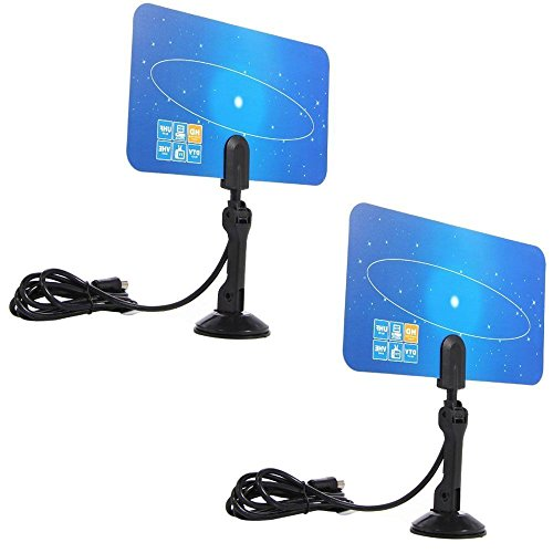 E-Bro® 2X Digital Indoor TV Antenna HDTV DTV Box Ready HD VHF UHF Flat Design High - Uhf High Gain Antenna