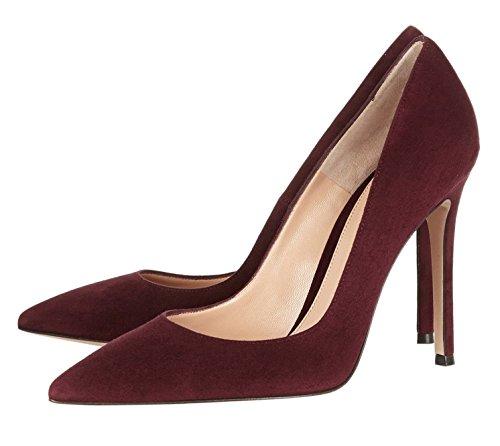 Office Toe Slip Burgundy Pointed Heel Womens Pumps High Court Shoes Dress On EDEFS qzxOE