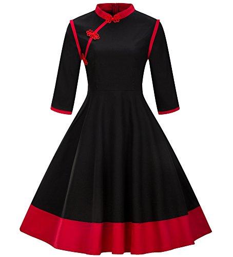 Store Clothing Chinese (Tecrio Women's Modern Chinese Qipao Cheongsam 3/4 Sleeve Custom Swing Dress S Black)
