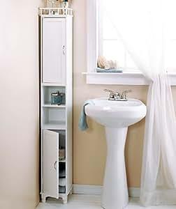 Slim White Bathroom Linen Cabinet Storage Organizer with Shelves
