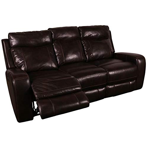 Hawthorne Collections Austin Leather-Look Power Headrests Reclining Sofa - Chocolate