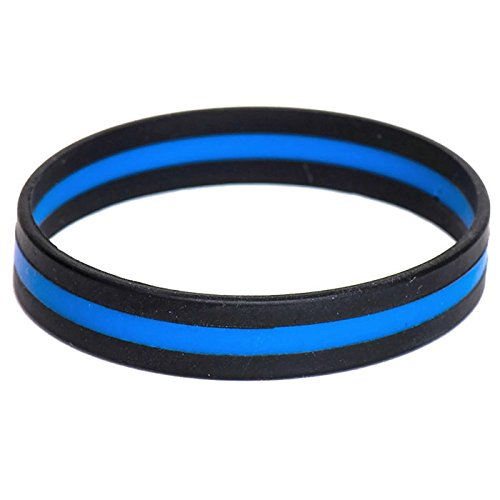 Thin Blue Line Silicone Bracelet Police Support Law Enforcement Memorial -
