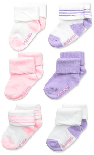 Hanes Toddler Girls Toddler 6-Pack Turncuff Socks, Assorted, 2/6-12 Months