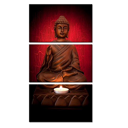 Kreative Arts - 3 Panels Canvas Prints Zen Art Wall Decor Red Buddha Modern Home and Office Decor Photos to Prints Paintings on Canvas Ready to Hang 12x20inchx3pcs (Rectangular Painting)
