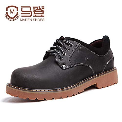 EAOJRSCSA Herrenschuhe Winter Herren Freizeitschuhe Große Schuhe Herren Leder Retro Rundkopf Niedrig Helfen Werkzeugschuhe Männer Flut Schuhe