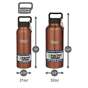 Healthy Human Insulated Water Bottle - Double Walled Sports Vacuum Thermos Wide Mouth Flask. Ideal for Women, Men & Kids - Sunset Gold - 32 oz
