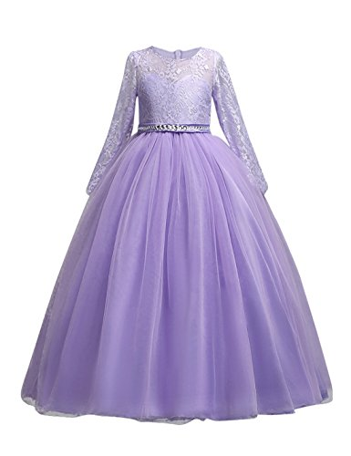 DOCHEER Fancy Girls Dress Tulle Lace Wedding Bridesmaid Ball Gown Floor Length Dresses for 4-14 Years (1023 Purple, 11-12 Years) ()