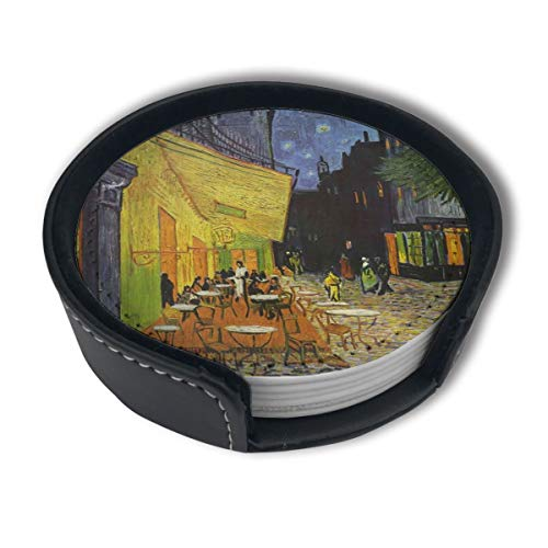 (Cafe Terrace at Night by Vincent Van Gogh Luxury Coasters Protect Furniture from Water Marks Scratch and Damage,Suitable for All Kinds of Cups,Set of 6)