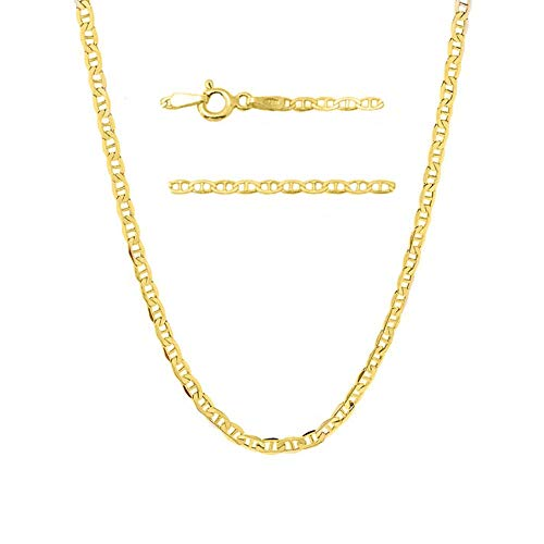 Verona Jewelers 14K Gold Unisex 1.5mm Flat Mariner Link Chain Necklace- 14k Gold Necklaces 16