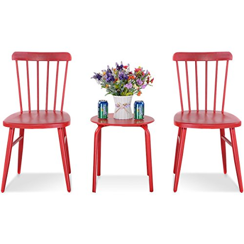 MD Group Bistro Table Chair Sets Outdoor Patio Red Steel Heavy Duty Frame Kitchen Bar Stool by MD Group