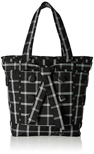 OGIO Women's Windowpane Hamptons Fully Padded Fleece Laptop Compartment Tote Bag, Black ()