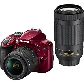 Nikon D3400 DSLR Camera w/AF-P DX NIKKOR 18-55mm f/3.5-5.6G VR and 70-300mm f/4.5-6.3G ED Lens, 16GB Memory Included – Red