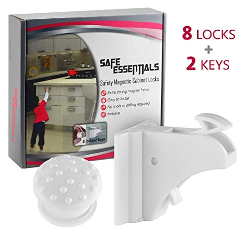 Safe Essentials-Magnetic Cabinet Locks Child Safety, Invisible, No-Tools Required Assembly, Comes with Extra 3M Adhesive Strips (8 Pack)