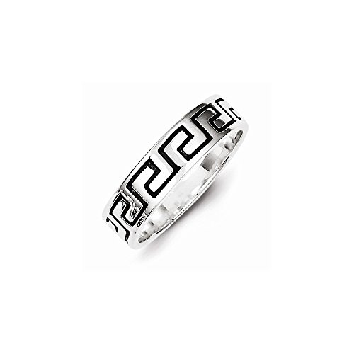 Sterling Silver Antiqued Greek Key Ring , Size: 8