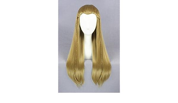 65 cm de la luz de color marrón recta de larga duración de ratón de las pelucas para Legolas de los anillos el con texto en inglés el Señor de los con ...