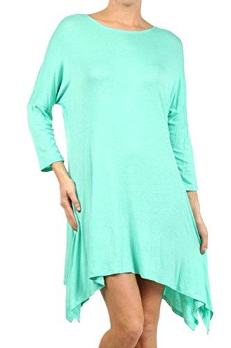 2LUV Plus Women's Dolman Sleeve Asymmetric Knit Tunic Dress – 3X, Mint
