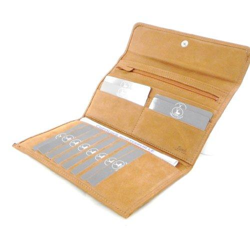 Wallet + checkbook holder leather 'Frandi' honey nubuck. by Frandi