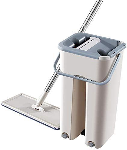 Deng Xuna Wischmopp und Eimer Multifunktions Flach-Mopp Holzboden Mopp Staub Push Mop Mikrofaser Mopp Hands-Free Mop Bodenwischer Reinigungswerkzeuge zu Hause
