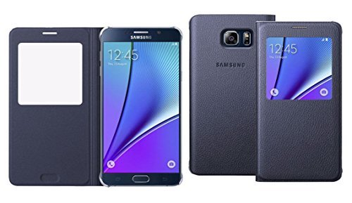 Samsung Galaxy Note 5 Case S-View Flip Cover (Black) At A Glance