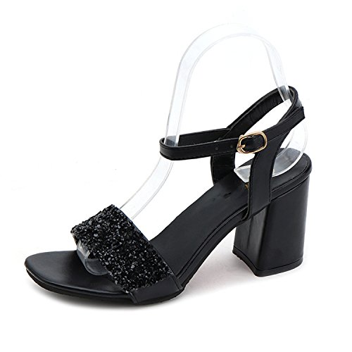 Special-Shop Sandals Buckle Buckle Toe fwild Rough with Silver Temperament fwomen Cool,Black,37