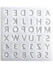Mengmengda Alfabet kristall epoxy hartsform engelska bokstäver nummer hänge silikonform