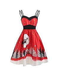 FarJing Christmas Dress, Christmas Women Vintage Evening Party Dress Swing Dress
