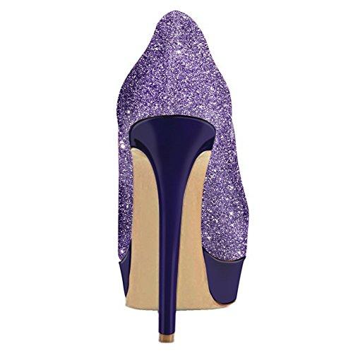 Pompes Des Haut Sur Soirée De Violet Onlymaker Robe Mariage De De Plate Paillettes forme Femmes Les Glissent Chaussures pqaSxwXav