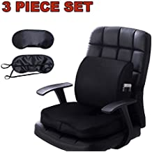 Qutool Seat Cushion Coccyx Orthopedic Memory Foam Lumbar Support Pillow with Non-slip Cover for Lower Back Pain Tailbone and Sciatica Relief Office Chair Car Seat Pad with Adjustable Strap (Black)