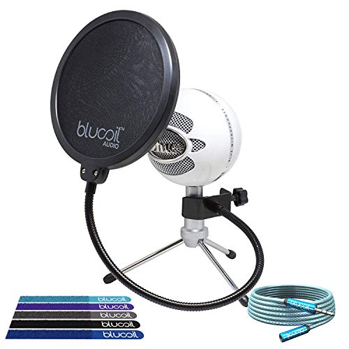 Blue Microphones Snowball iCE Cardioid Condenser Microphone (White) -INCLUDES- Blucoil Pop Filter, 6' 3.5mm Headphone Extender AND 5 Pack of Cable Ties