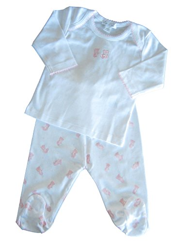 Kissy Kissy Baby-Girls Infant Tiny Teddy Footed Pant Set-White With Pink-6-9 Months