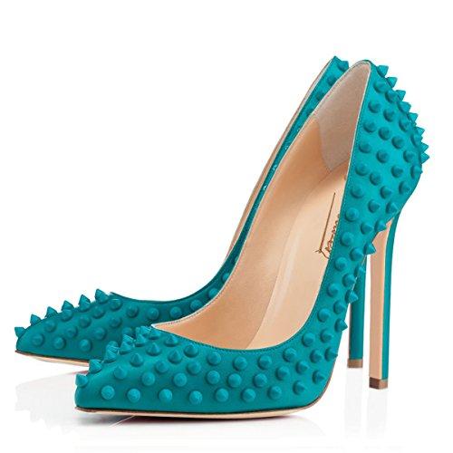 Onlymaker Damenschuhe High Heels Geschlossene Toe mit Nietendecortation Pumps Blau
