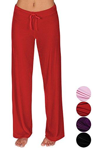 Addison Meadow Womens Pajama Bottoms - Sweat Pants for Women, Red, Medium / 8-10