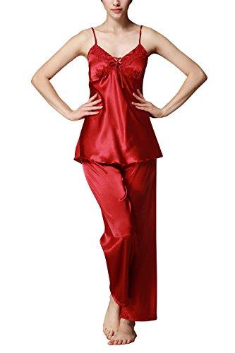 Dolamen Pijamas para mujer, Pijamas Mujer invierno Verano, 3-in-1 Mujer camisones, Satén suave y cálido Manga larga y pantalones largos, Mujer largo Camisones raso Satin Pijamas Rojo