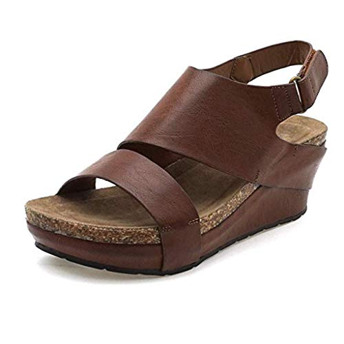 Womens Platform Wedges Sandals,Summer Comfortable Open Toe Ankle Adjustable Cool Feel Soft Retro Roman Shoes Plus Size (Brown, -
