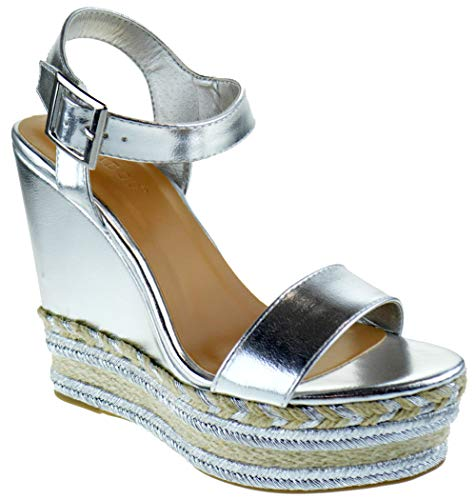 - BAMBOO Choice 26 Womens Slingback Buckle Espadrille Wedge Dress Sandals Silver 7