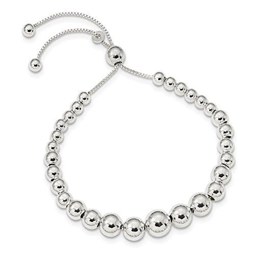 (Lex & Lu Sterling Silver Graduated Beads Adjustable Bracelet or Necklace-Prime)