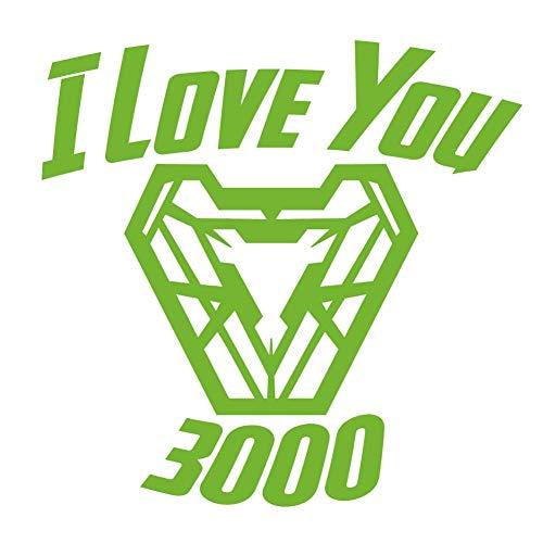 I Love You 3000 Superhero Quote 6 inch Lime Indoor Outdoor Vinyl Decal -