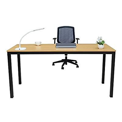 """FyGou Home Office Desk, 63"""" Large Computer/Gaming/Study/Writing/Dining Table Desk - 【Environment Protection】Panel material is environmental E1-class standard particle wood. Durable steel frame with powder coat finish.Desk Size: L63"""" * W23.6"""" * H29.5"""",Good choice for study, home and office use. 【Modern and Stylish Design】Modern simple fashion, elegant and decent appearance provide comfortable working and study environment. With its open-concept design and clean aesthetic, this contemporary computer desk makes a perfect addition to any home office or work space. 【Multifunctional Desk】This table can be placed in your home study, bedroom and office to serve as a office desk,writing desk,gaming desk,study desk,student desk even dining table. - writing-desks, living-room-furniture, living-room - 412Fj85H%2BIL. SS400  -"""