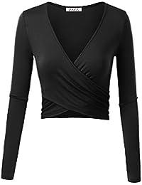 Women's Deep V Neck Long Sleeve Unique Slim Fit Coss Wrap...