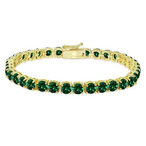 Yellow Gold Flashed Sterling Silver 5mm Simulated Emerald Round-cut Tennis Bracelet