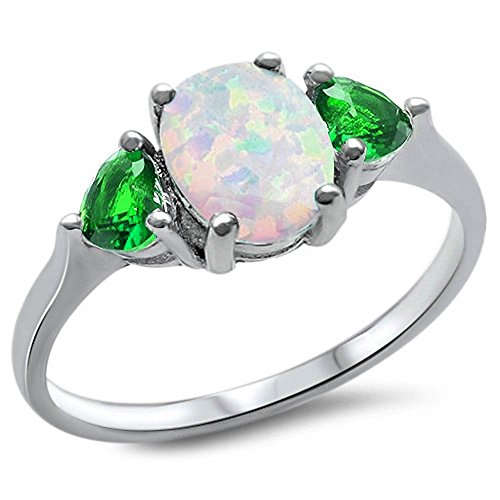 Sterling Silver Oval Lab Created White Opal & Greem Emerald Heart Ring Sizes - Ring Created Diamond Heart Promise