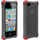Ballistic SA0722-M115 iPhone 4 LS Case (Transparent Smoke with 5 Black and 5 Red Curved Bumpers) 1 Pack - Retail Packaging - Smoke
