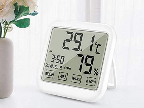 ZHIC キッチン温度計、デジタル温度計、屋内電子多機能温度計、湿度計、高精度なホームオフィス温度計、タイムカレンダーとタッチス