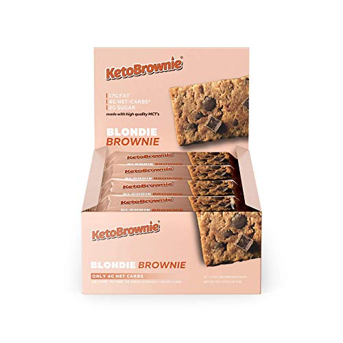 KetoBrownie Blondie Keto Brownies (12-Count) | Deliciously Baked Soft & Chewy | Brain Boosting C8 MCTs | 17g Healthy Fats | 4g Net-Carb Keto Bars | 2g Sugar | Keto\Low-Carb\Diabetic Friendly