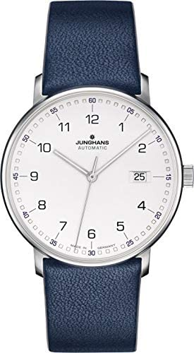 Junghans Form A Automatic Date Matte Silver Dial Blue Leather Strap 027 4735.00