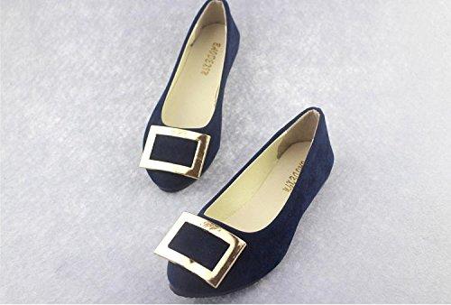 LvYuan scamosciata ginnastica donna da moda tacco comodità Scarpe blue casual piatto pigro camminate scarpe da scarpe mocassini ufficio amp; pelle dark casual CN37 carriera amp; fqArfxw