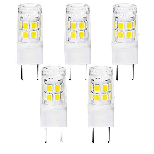 All New G8 Led Bulb, 2.5W Under Cabinet LED G8 Light Bulb, 20W Halogen Equivalent, G8/GY8.6 Bi-pin Base G8 Light Bulbs, Non-Dimmable, Puck Light and Under Counter Kitchen Light,Pack-5 (daylight white) (Tavern Lamps 5)