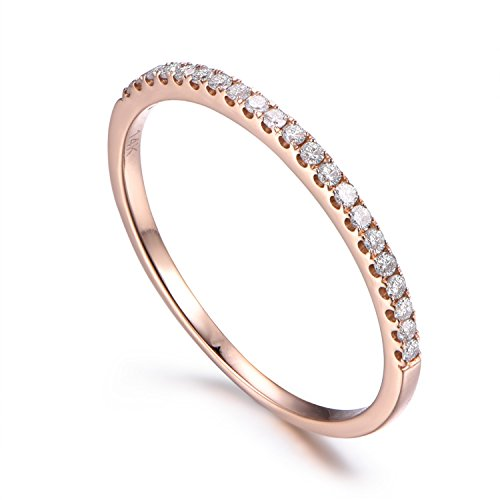 18k Gold Diamond Eternity Ring - 14K Rose Gold Diamond Wedding Ring,Half Eternity,Stackable Ring,Micro Pave Diamond,Thin Matching Band