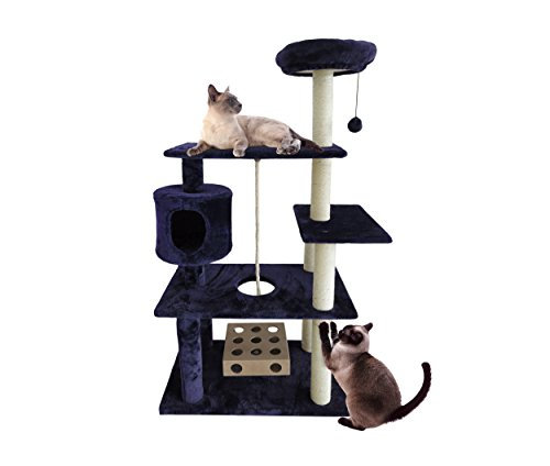 FurHaven Pet Cat Tree | Tiger Tough Cat Tree House Furniture for Cats & Kittens, Deluxe Playground, Blue ()